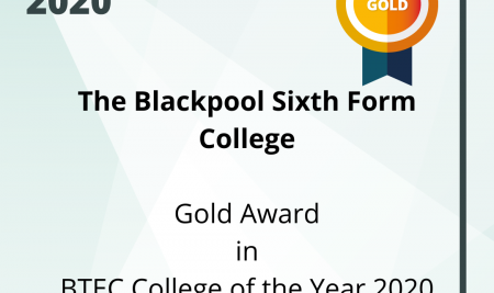 Blackpool Sixth is BTEC College of the Year 2020